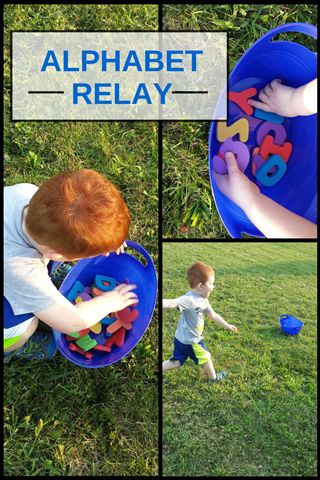 Alphabet Relay: Try it as a Spanish activity! Great learning games to practice Spanish letters, Spanish letter sounds and Spanish words. Movement aids learning! http://mominspiredlife.com/alphabet-relay/