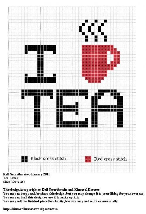 i heart tea cross stitch chart