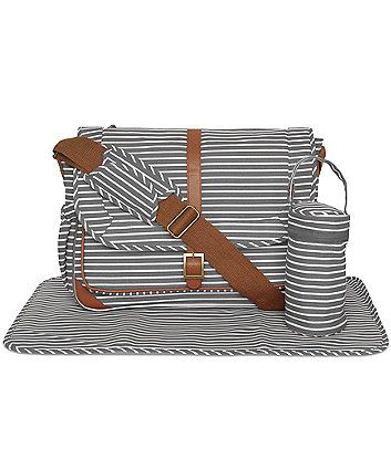 Mothercare Satchel Changing Bag- Grey Stripes - baby changing bags - Mothercare