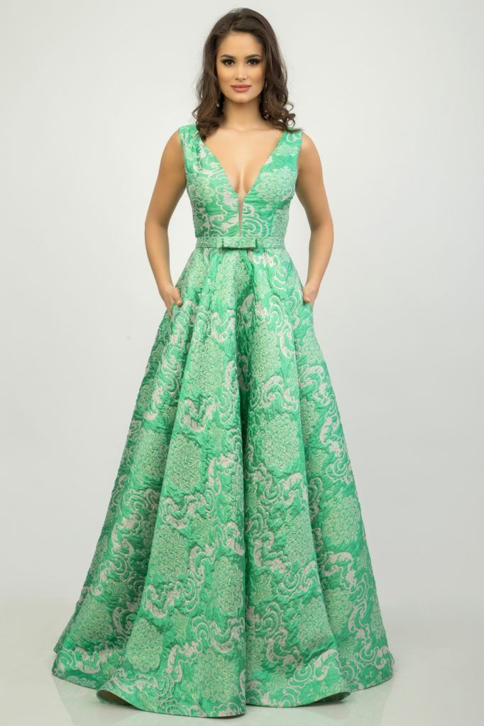 rochie lunga verde menta - rochii de seara lungi