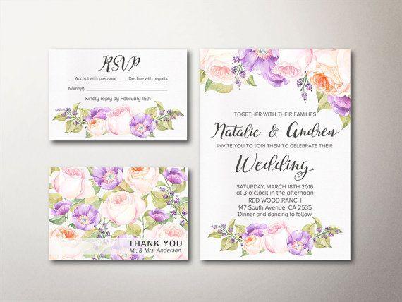 Floral Wedding Invitation Suite Printable by lipamea, Spring Summer Wedding, Modern Wedding