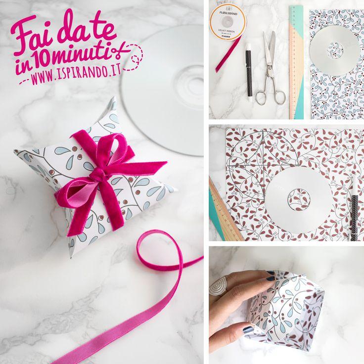 Come creare una scatola con un cd-rom e ottenere pacchetti regalo fai da te ideali per contenere piccoli oggetti come collane, bracciali, orecchini | DIY packaging made with cd-rom • #DIY #package #cd #packaging