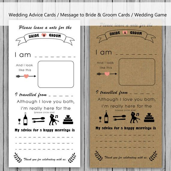 A fun wedding game for your guests to provide their wedding advice https://www.etsy.com/uk/listing/505266474/wedding-advice-card-message-to-bride-and?ref=shop_home_feat_3
