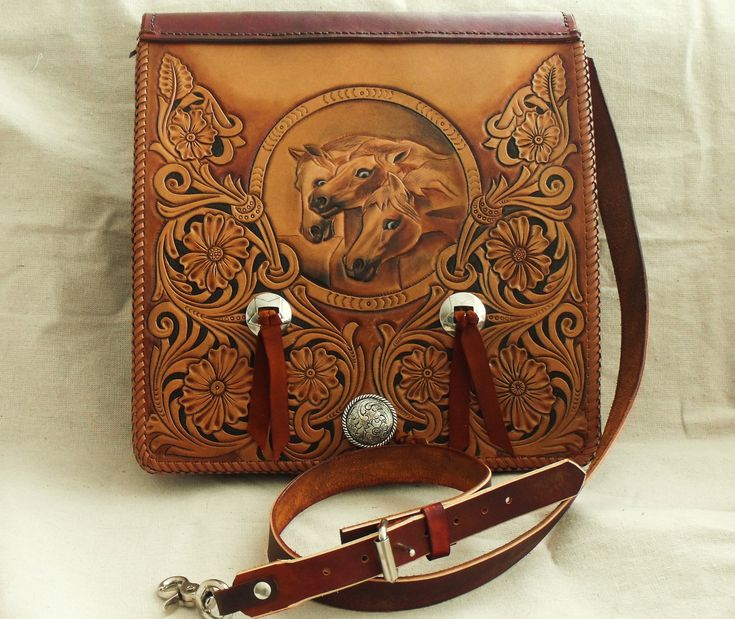 Tooled messenger bag western style bags