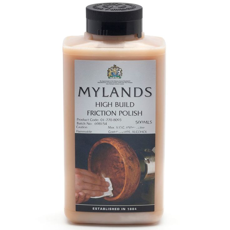 Mylands Friction Polish from Craft Supplies USA --- This is an excellent finish for all small lathe projects where turners require a finish that is quick building, durable, and can be applied directly on the lathe. The high solids content of this finish helps you build up the finish quickly and produces a high gloss finish with little effort. #woodturning #finish