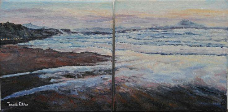 """""""Anochece en la Côte Basque """" Óleo sobre lienzo 20×40 cm Fuensanta R.Urien"""