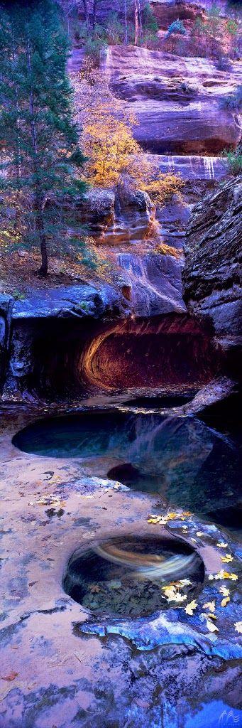 Photography - Community - Google+   Behind the Lens: Pool of Heaven  Camera: Fuji GX617 Lens: 90 mm Aperture: F45 Exposure: 2 minutes Film: Fuji Velvia, ISO 100 Location: Zion National Park, Utah