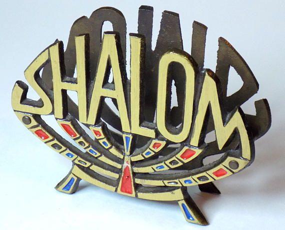 1970s Shalom Napkin Holder Brass Peace Napkin Holder Blue