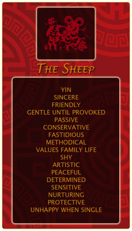Chinese Signs: Sheep - Register at our site and find out your Chinese animal sign! http://bit.ly/1dqeH58