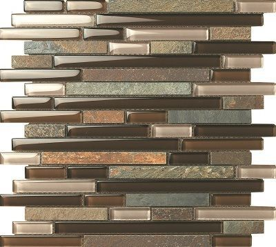 Slate Glass Mosaic Tile Linear Brown is a combination of glass and slate natural stone on a brick/linear pattern, which gives a contemporary and yet warm feel. This mosaic tile comes mesh mounted on a