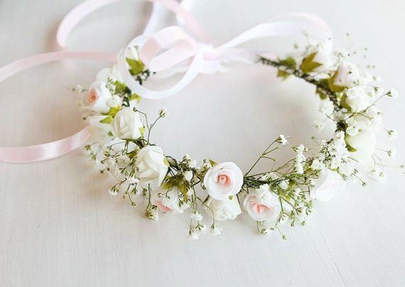 Baby's Breath & Rose Crown Flower Girl Crown by HandyCraftTS