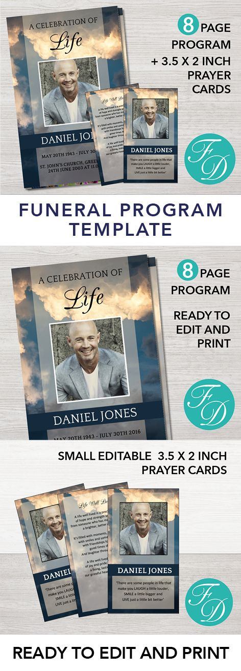 Best Funeral Program Templates Images On   Templates