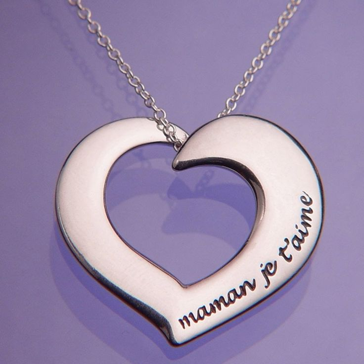 A private message engraved in French for the most special of moms, Maman Je T'aime. #jewelry #MothersDay #mother #French #heart #necklace