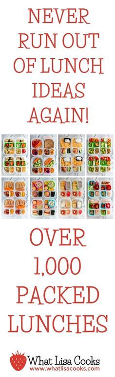 Wow! You will never run out of lunch ideas again! This page has over 1,000 packed lunches. All made by a mom of two sets of twins. www.whatlisacooks.com