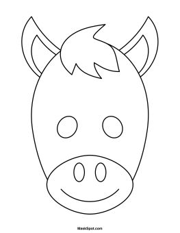 Printable Donkey Mask to Color Mais