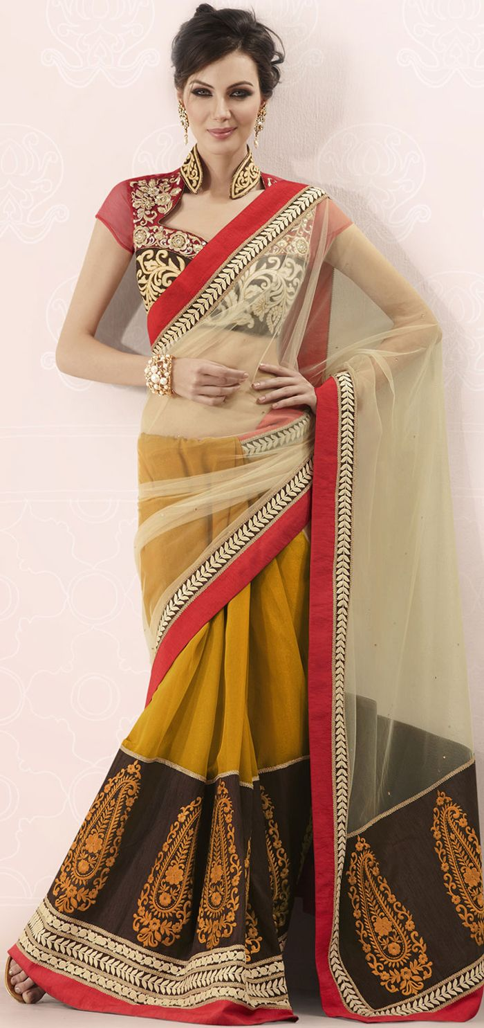 Orange #Faux #Georgette #Saree #Blouse #saree #sari #blouse #indian #hp #outfit  #shaadi #bridal #fashion #style #desi #designer #wedding #gorgeous #beautiful