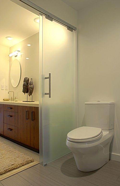 imagine family of 4 and 1 bathroom...solution... sliding doors inside the bathroom