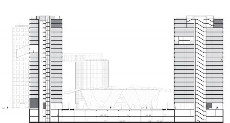 Section for LINKED HYBRID by Steven Holl Architects