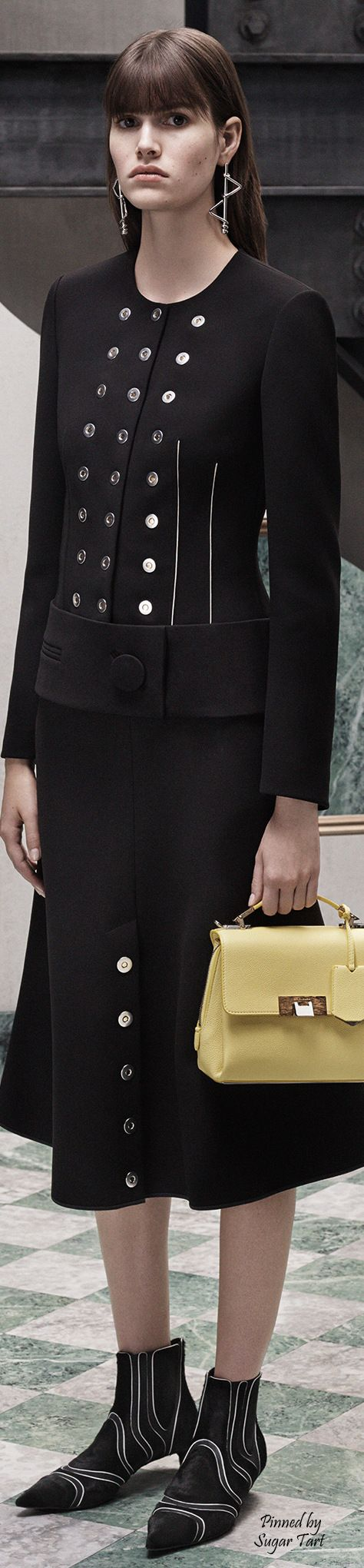 Balenciaga - Pre-Fall 2015  THIS DESIGNER SHOULD BE EMBARRASSED!  SHE LOOKS BORING, BLAND, AND  SOMEWHAT LIKE A CLOWN....CHECK THE SHOES!   UGH!