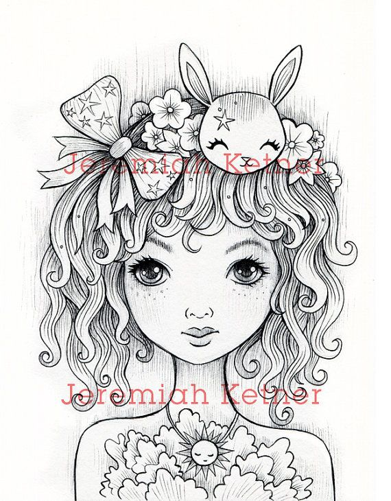 ivy curls digital coloring page by smallandround on etsy - Colouring For All