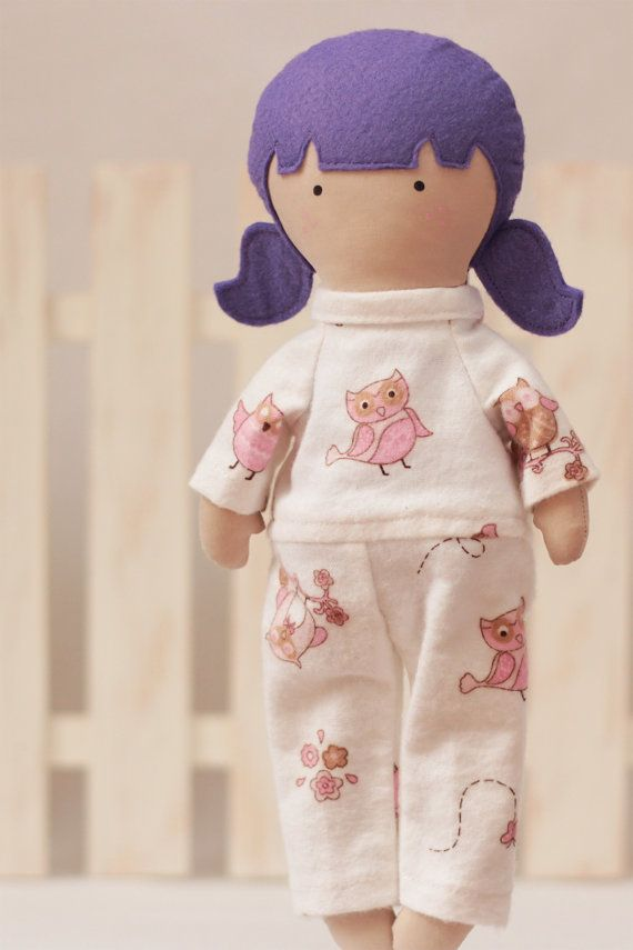 Owls Doll Pajamas Flannel White with Pink and by RibizliDesign