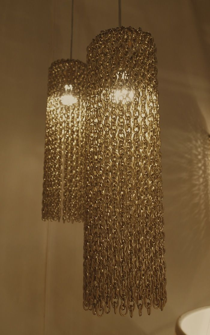 Chain Lighting Over Dining Room Table