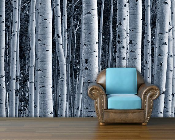 My new obsession: Aspen forest trees mural wallpaper  repositionable by StyleAwall, $395.00