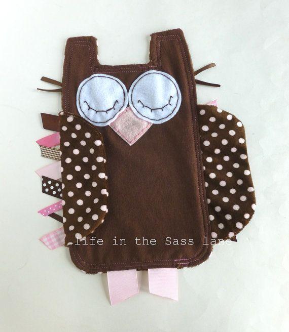 Cioccolato e rosa pallido marrone regalo Lovie Lovey Blankie coperta bambino Tag nastro Minky gufo Polka Dot  <3