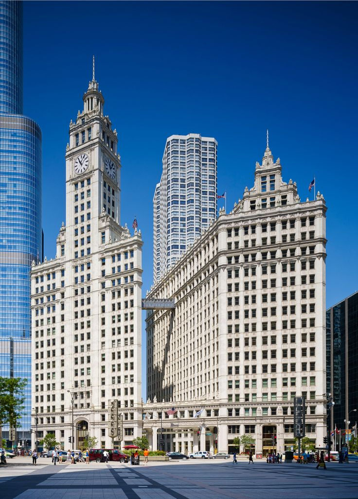 """A symbol of Chicago, the Wrigley Building & its distinctive towers are an architectural favorite among Chicago's residents & visitors. William Wrigley Jr., who wanted an impressive headquarters for his successful chewing gum company, was the first to build an office tower on the north side of the Chicago River. With completion of the Wrigley Building at a cost of $3,795,974 in 1924, he pioneered development of North Michigan Avenue, which has become Chicago's """"Magnificent Mile""""."""