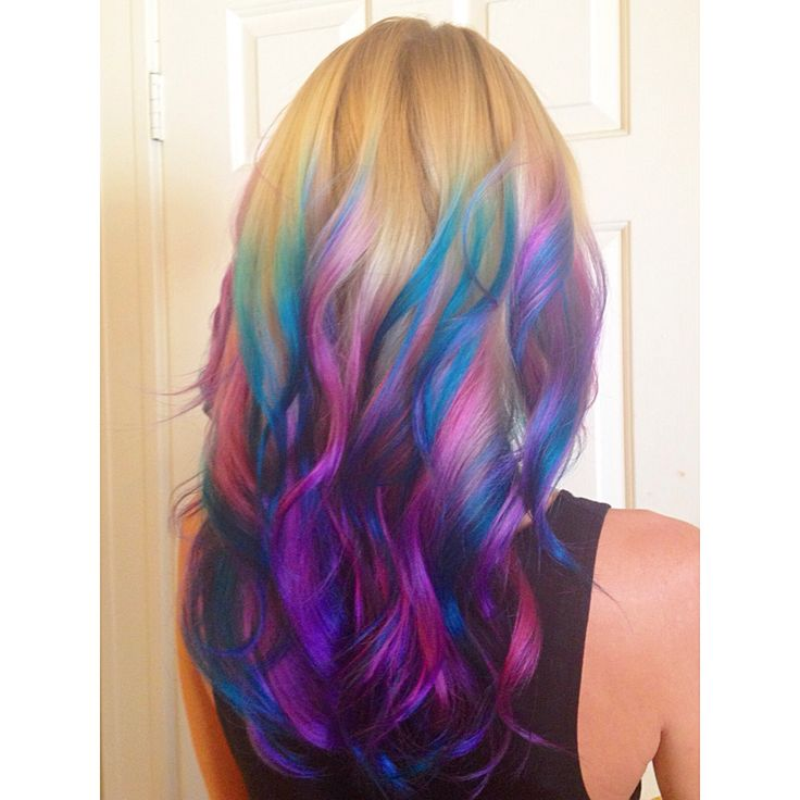 Mermaid balayage. Magenta, purple and teal/blue over blonde and soft curly long