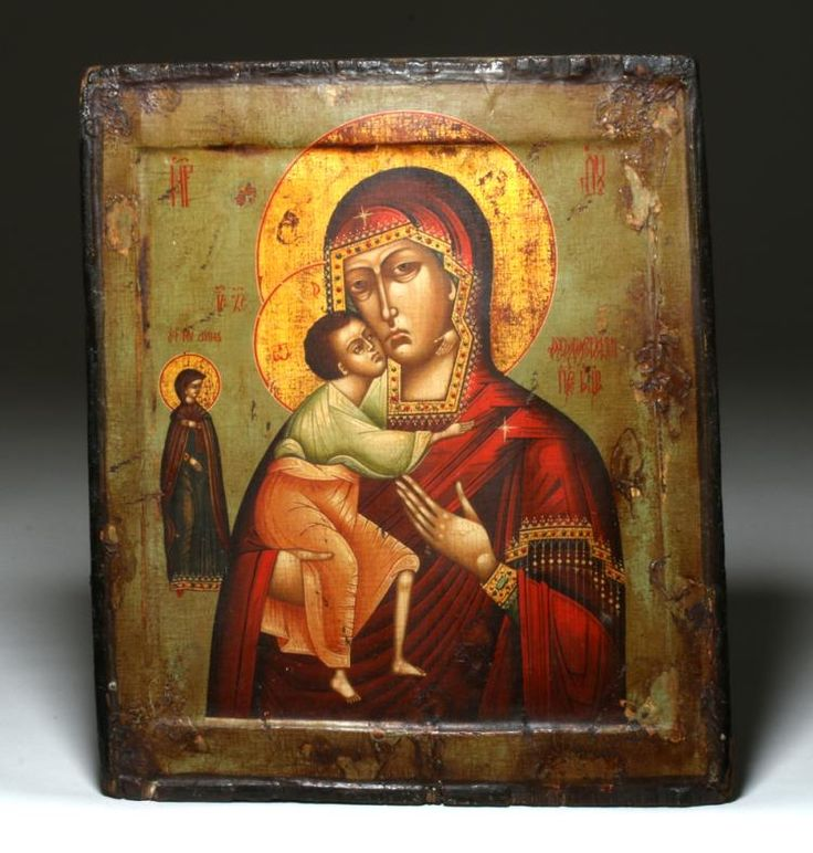 """19th c. Russian Icon """"Our Lady of Don"""" and St. Anne"""