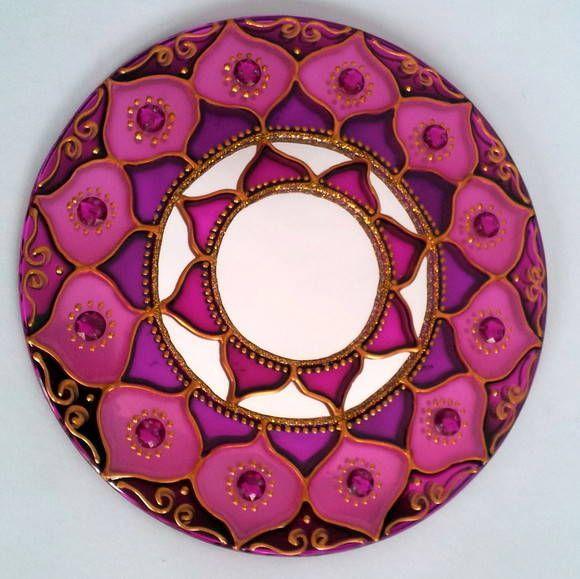 mandala Rosa em espelho de 15cm