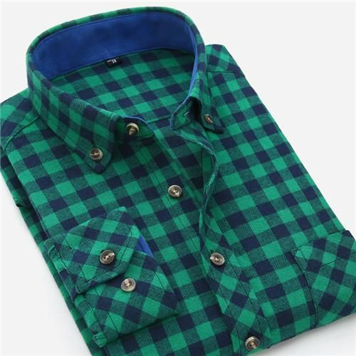 Men's Shirts New Mens Plaid Shirt 100% Cotton High Quality Mens Business Casual Long Sleeve Shirt Male Social Dress Shirts Flannel