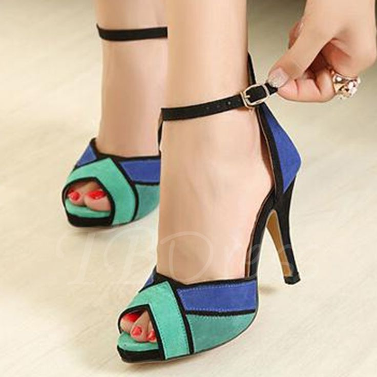 Color Block Platform Stiletto Heel Peep Toe Women's Sandals