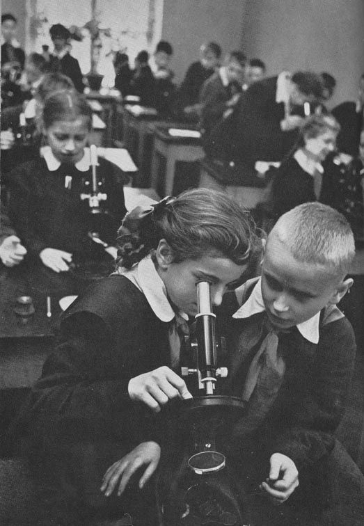Russian school uniform. At the biology lesson in Leningrad (now St Petersburg), 1950s. #education