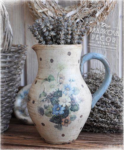 """""""Беатрис"""" кувшин - провинциальный стиль,французский голубой,керамический кувшин"""