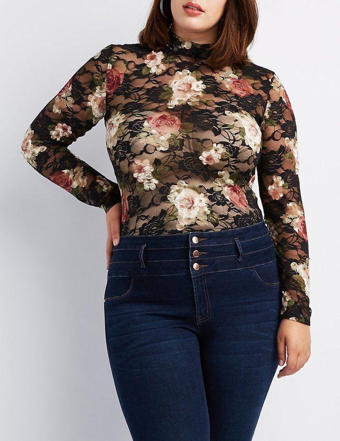 Charlotte Russe Plus Size Floral Sheer Mesh Bodysuit