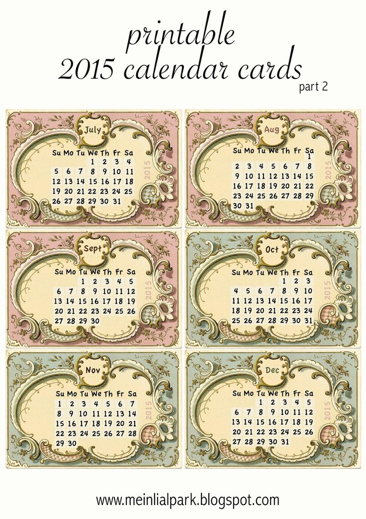 Free printable 2015 calendar cards : part 2 - ausdruckbarer Kalender 2015 - freebie | MeinLilaPark – DIY printables and downloads