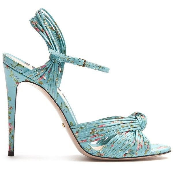 Gucci Allie floral-print leather sandals ($950) ❤ liked on Polyvore featuring shoes, sandals, heels, blue multi, high heel stilettos, stiletto heel sandals, stiletto sandals, blue sandals and gucci sandals