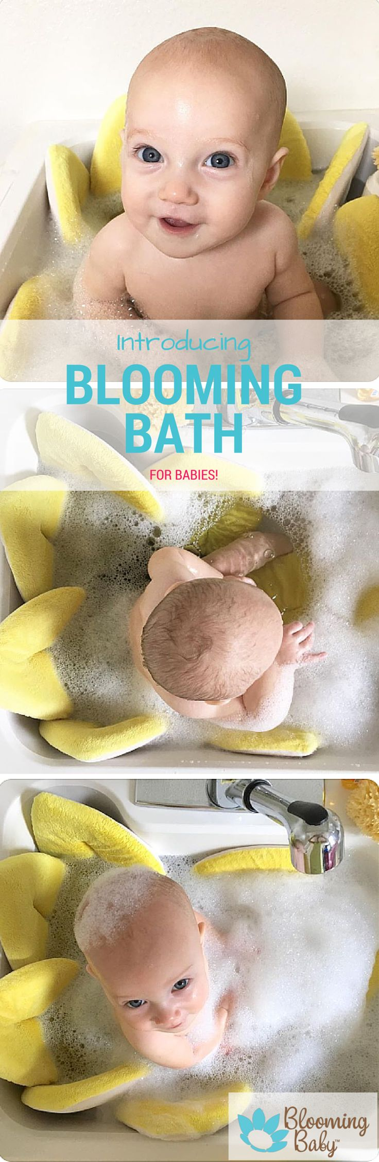 The Blooming Bath is a soft, plush flower shaped baby bath. Simply put it in your bathroom or kitchen sink and get ready to enjoy bath time!