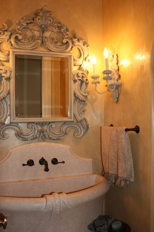 Powder room gorgeous mirror custom stone sink for Gorgeous powder rooms