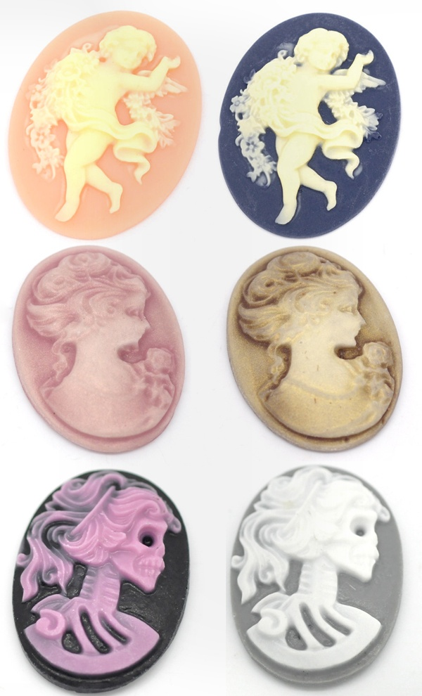 Cameo embellishment findings supplies I hope no ivory! we will see but that bottom one is different and cool