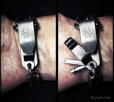Covert SERE Bracelet Prototype by Vinjabond /// One hand operated handcuff, rope, tape and zip tie restraint escape device. Made from 100% titanium parts for corrosion protection and non-magnetic properties. Includes a carbidized micro-serrated razor, split-pawl shim and an advanced handcuff key. Appearance of a classic white gold curb chain bracelet or a medical bracelet. Impossible to unlatch without tools or the secret method (derived from a knot puzzle).