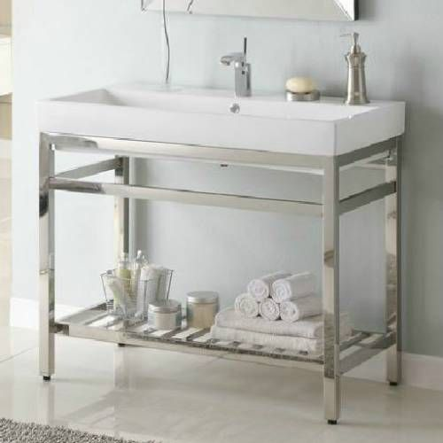 Photo Image Empire Industries SB South Beach Stainless Steel Console Vanity for Milano Ceramic Sink