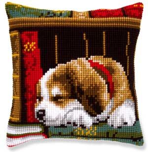 needlepoint cat napping | PUPPY SNOOZE NAP TIME PILLOW