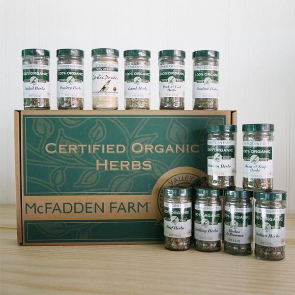 Organic Herb Blend Gift Box - 12 Spices  $60: Gifts Ideas, Blend Gifts, Herbs Blend, Large Organizations, Farms Large, Holidays Gifts, Mcfadden Farms, Organizations Herbs, Gifts Boxes