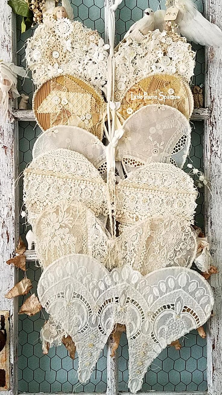 Vintage lace wings, wire wings, Angel wings, lace wings, doily wings, shabby chic decor, wedding decor