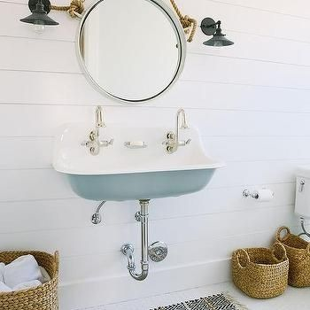 Turquoise Trough Sink with Rope Mirror, Cottage, Bathroom