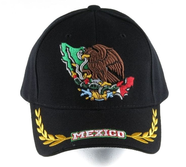 Decky Baseball Cap Hat Mexico Eagle Flag Black Embroidered Velcro Back NEW #Decky #BaseballCap