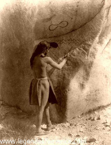 Paviotso Paiute making petroglyphs, 1924, Edward S. Curtis.